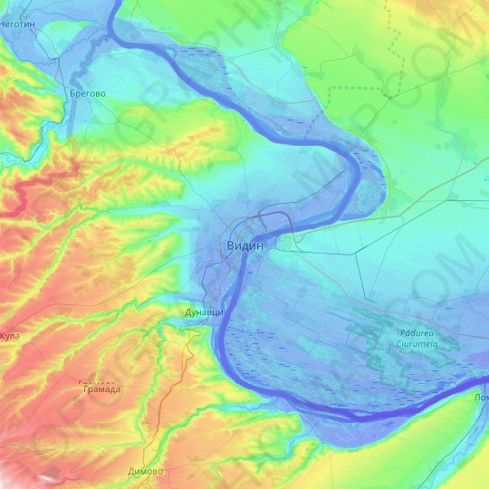 Vidin topographic map, relief map, elevations map