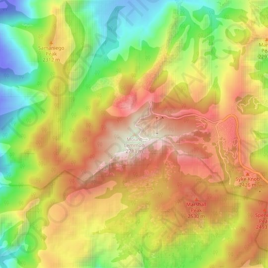 Mount Lemmon topographic map, elevation, relief