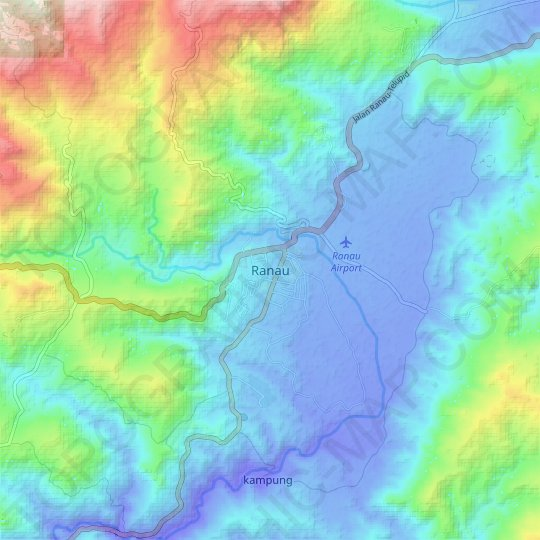 Ranau topographic map, elevation, relief