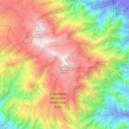 Greenhorn Mountain topographic map, elevation, relief