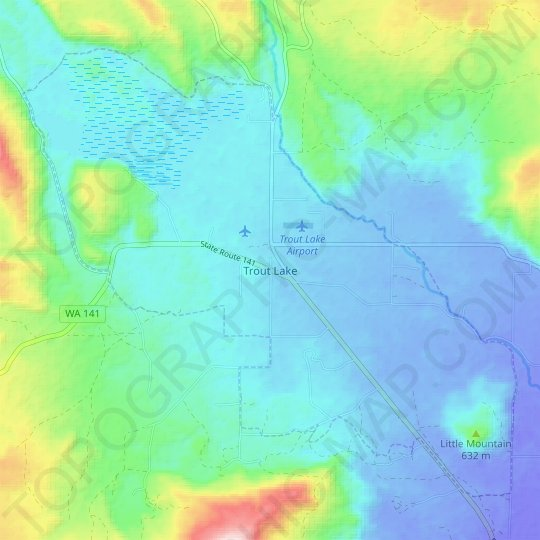 Trout Lake topographic map, relief map, elevations map