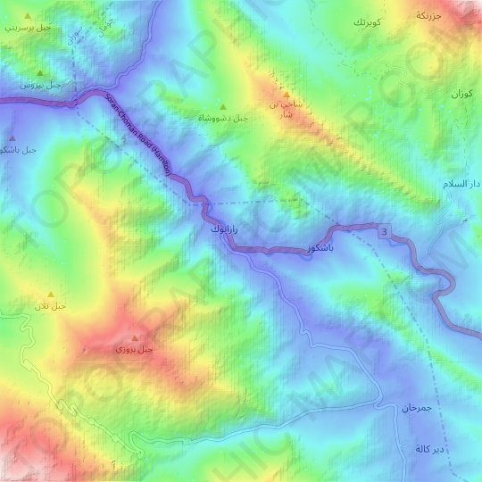 Nahr Razanuk topographic map, relief map, elevations map