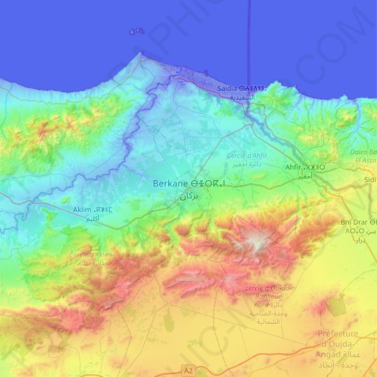 Berkane topographic map, elevation, relief