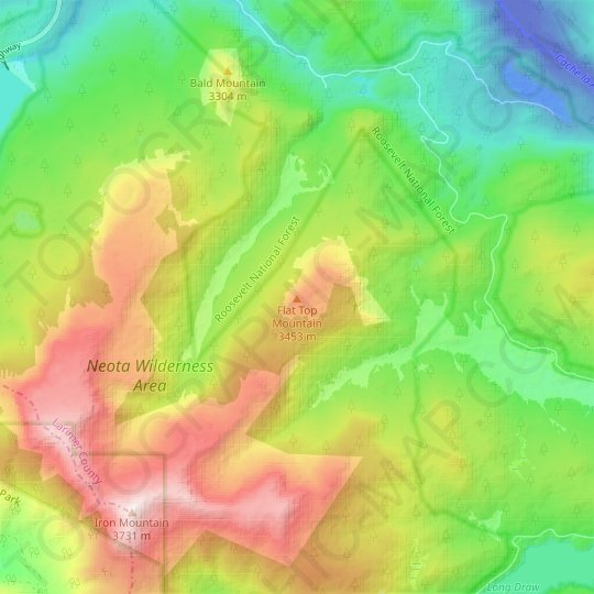 Flat Top Mountain topographic map, elevation, relief