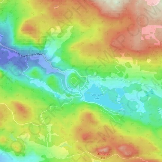 Pinantan Lake topographic map, relief map, elevations map