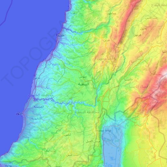 Nabatieh topographic map, relief map, elevations map
