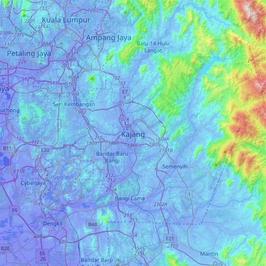 Kajang topographic map, relief map, elevations map