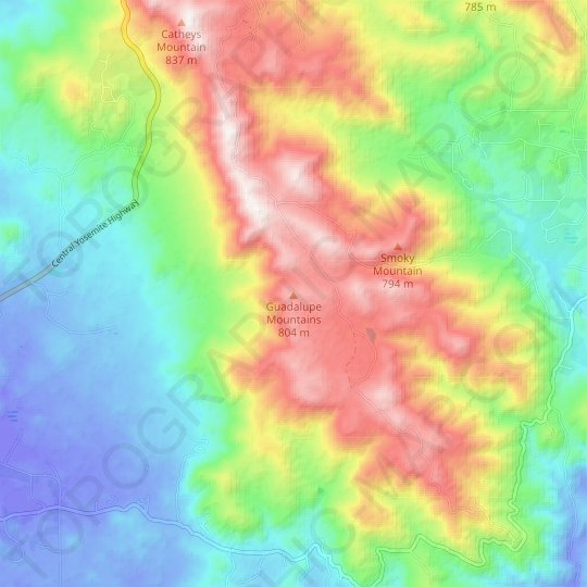 Guadalupe Mountains topographic map, elevation, relief