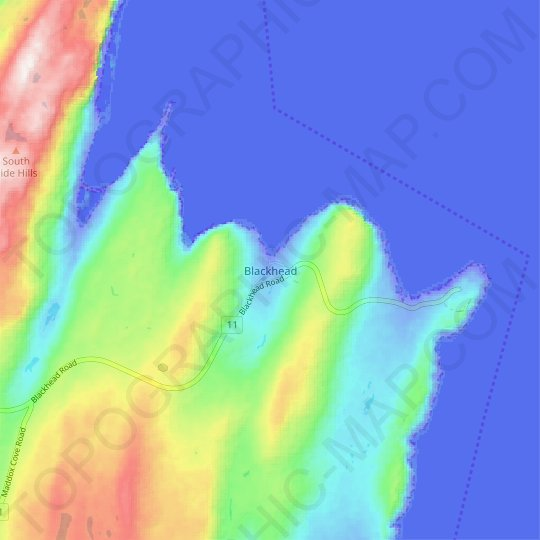 Blackhead topographic map, relief map, elevations map