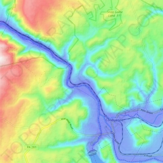 Huston topographic map, relief, elevation