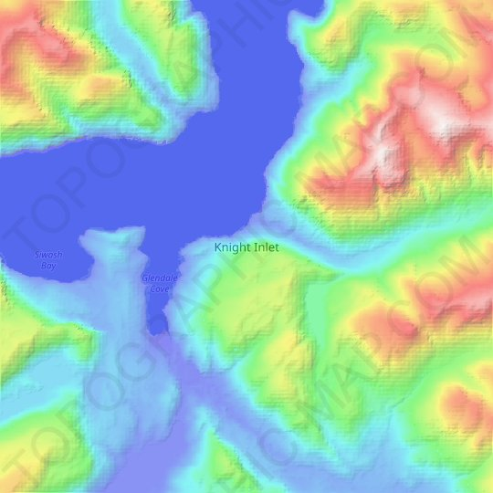 Knight Inlet topographic map, relief map, elevations map