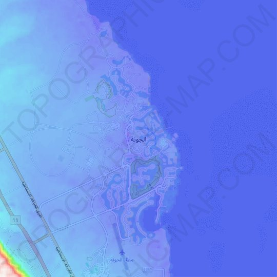 El Gouna topographic map, relief map, elevations map