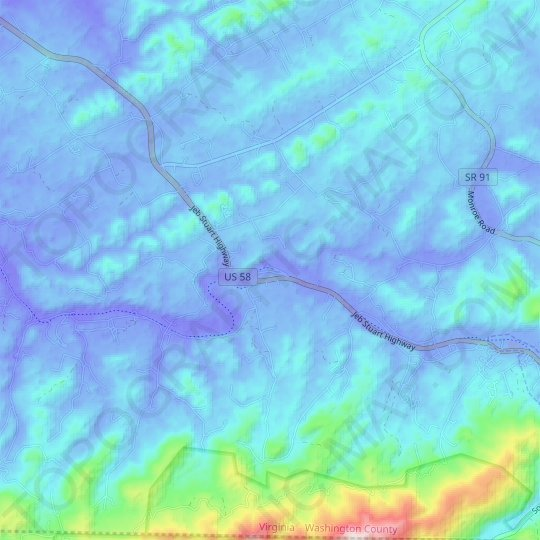 Drowning Ford topographic map, relief map, elevations map