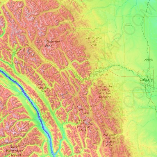 Canmore (town) topographic map, elevation, relief