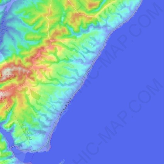 Kuri Bush topographic map, relief map, elevations map