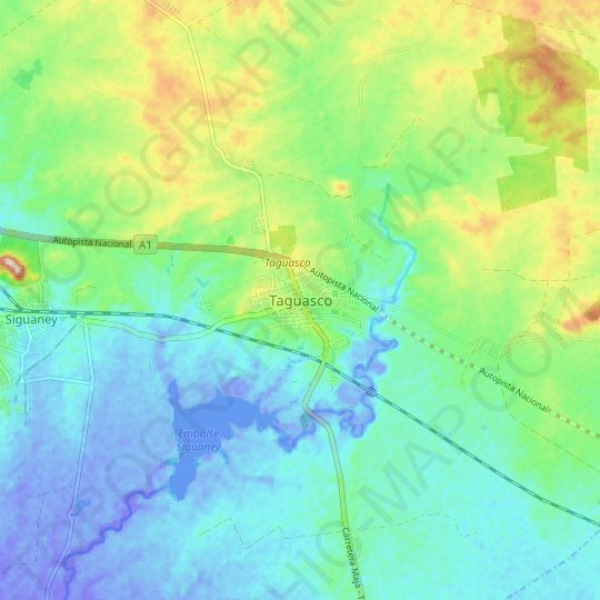 Taguasco topographic map, elevation, relief