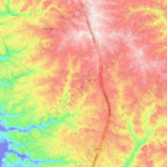 Auburn topographic map, relief map, elevations map
