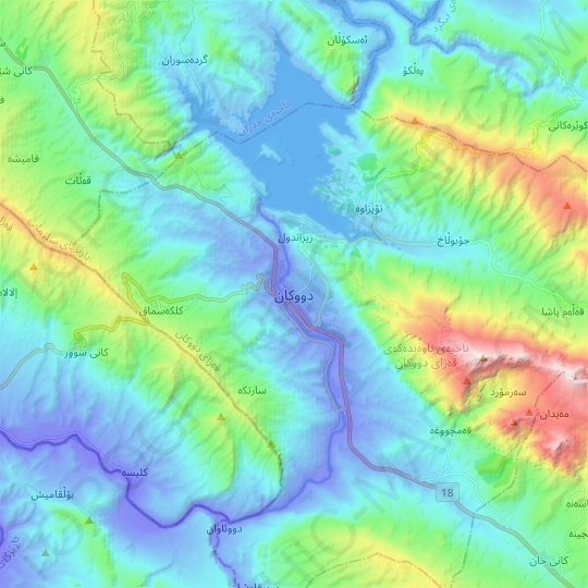 Dokan topographic map, relief map, elevations map