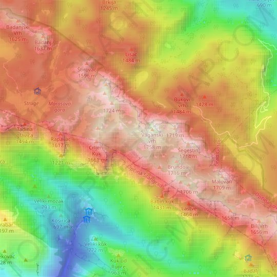 Velebit topographic map, relief map, elevations map