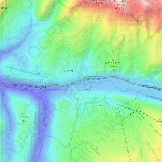 Keystone topographic map, elevation, relief