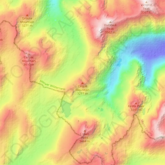 Cirque Mountain topographic map, elevation, relief