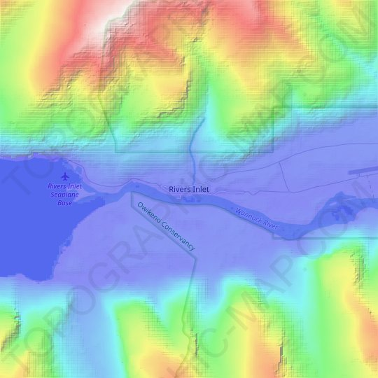 Rivers Inlet topographic map, relief map, elevations map