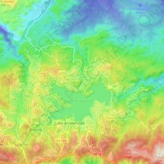 North Shore topographic map, relief map, elevations map