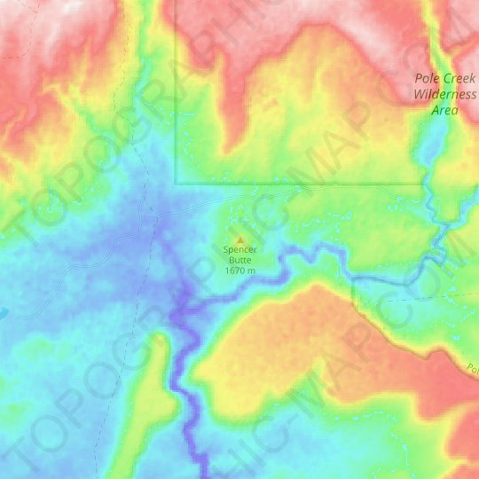 Spencer Butte topographic map, elevation, relief