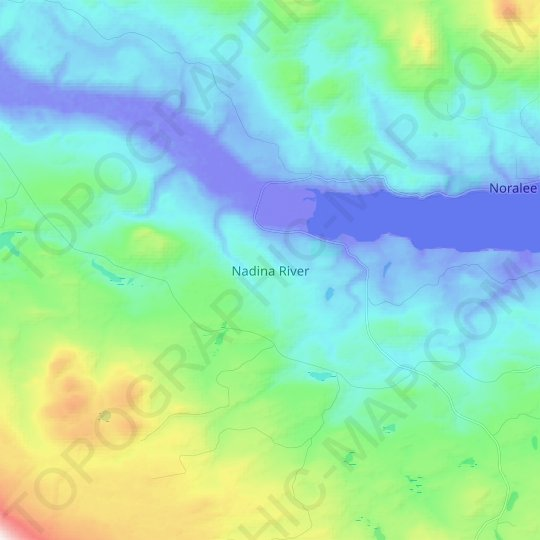 Nadina River topographic map, relief, elevation