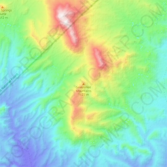 Sevenmile Mountains topographic map, elevation, relief