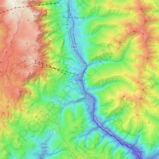 Sinaia topographic map, elevation, relief