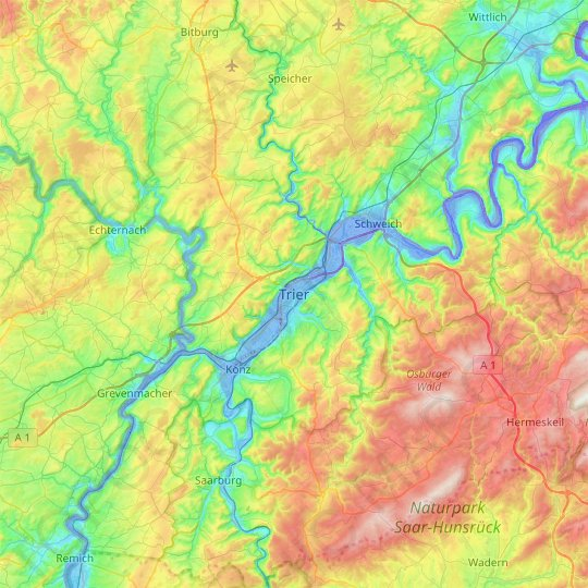 Trier topographic map, relief map, elevations map