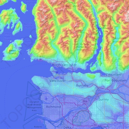 North Vancouver topographic map, elevation, relief
