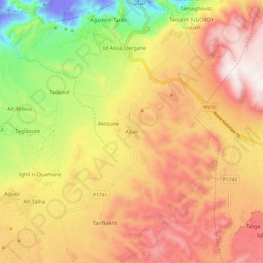 Abali topographic map, relief map, elevations map