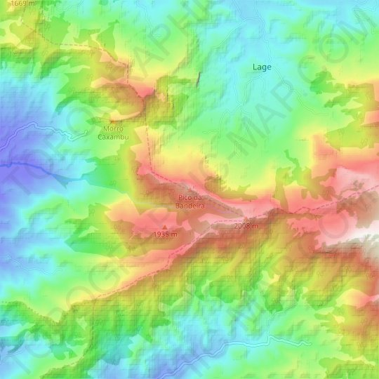 Pico da Bandeira topographic map, relief map, elevations map