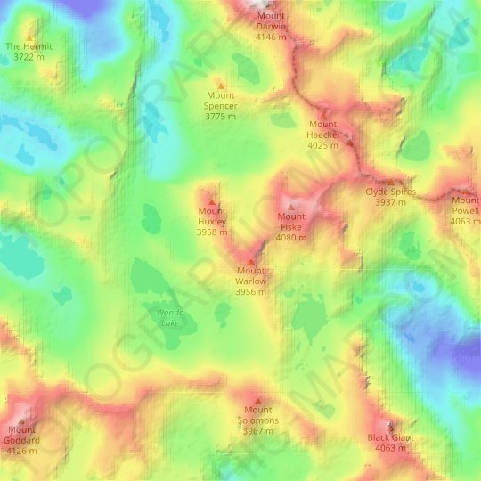 Mount Warlow Glacier topographic map, elevation, relief