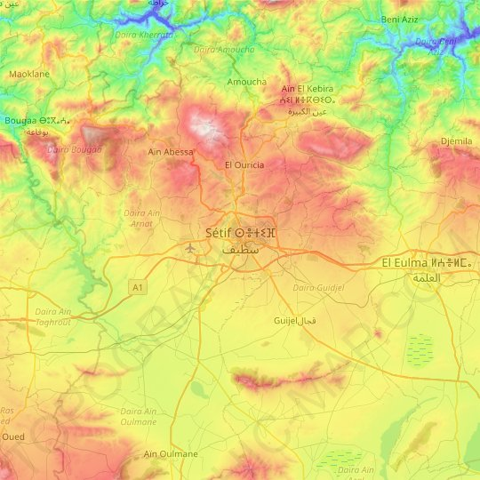 Setif topographic map, relief map, elevations map