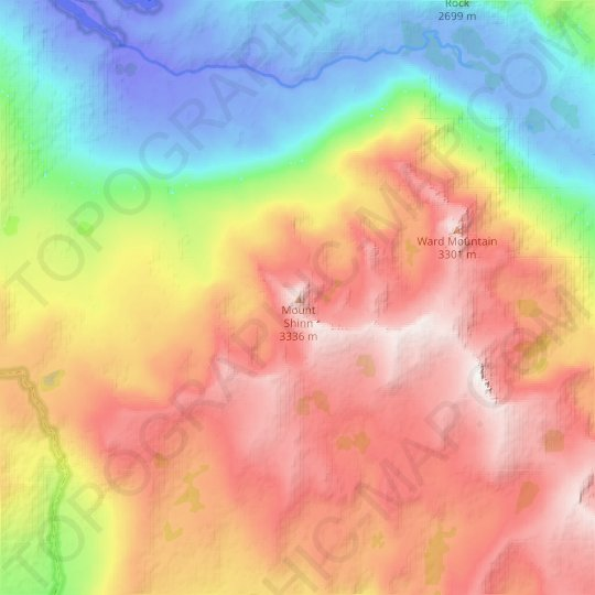 Mount Shinn topographic map, elevation, relief