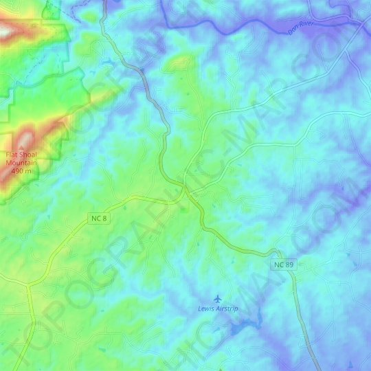 Meadows topographic map, relief map, elevations map