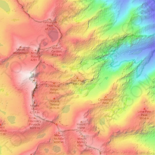 Thor Peak topographic map, elevation, relief