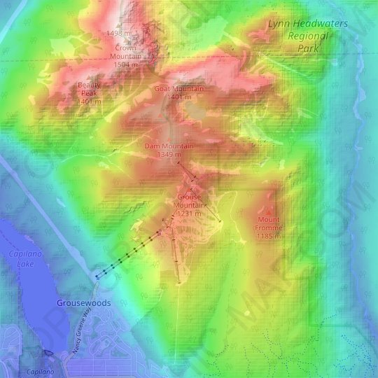 Grouse Mountain topographic map, elevation, relief