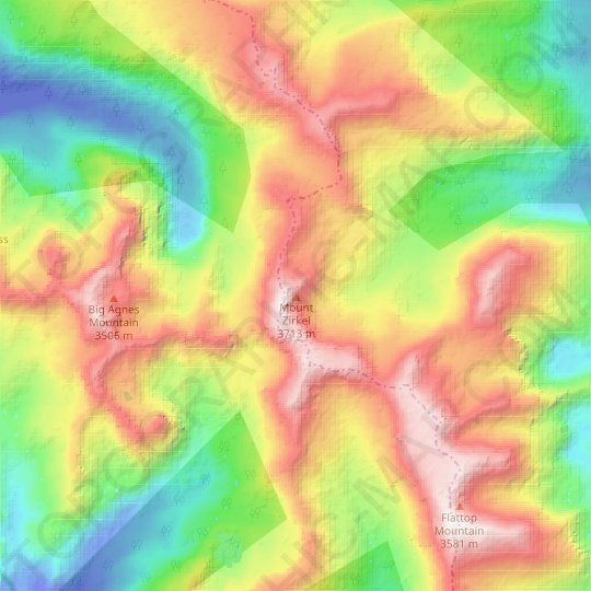 Mount Zirkel topographic map, elevation, relief