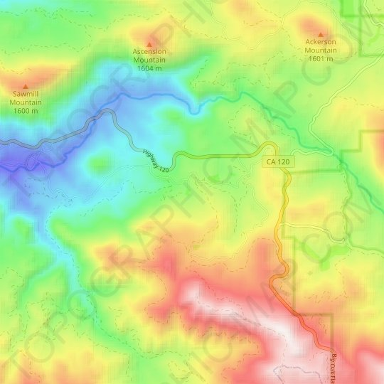 Sequoia topographic map, relief map, elevations map