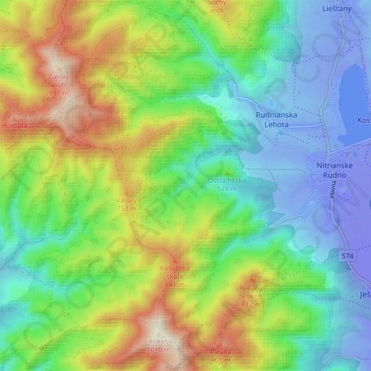 Rázdolia topographic map, relief map, elevations map