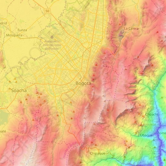 Bogota topographic map, relief map, elevations map