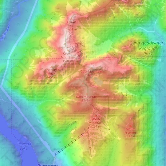 Little Goat Mountain topographic map, elevation, relief