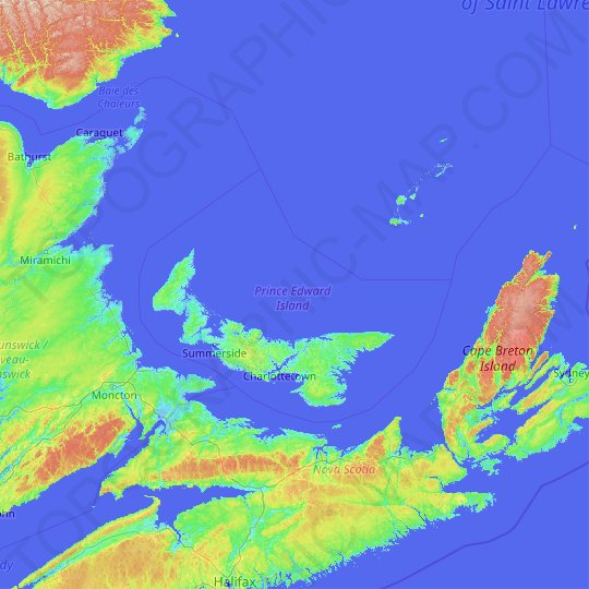 Prince Edward Island topographic map, elevation, relief