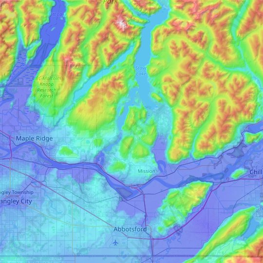 Mission topographic map, elevation, relief