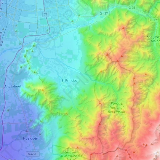 Pirque topographic map, relief map, elevations map