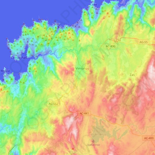 Vimianzo topographic map, relief map, elevations map